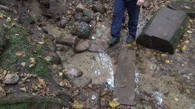 Man source stone drink stock footage