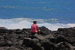 Man South Point Hawaii Royalty Free Stock Images