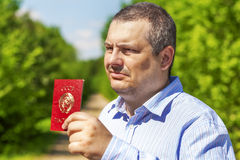 Man with soviet union passport Stock Photo