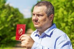 Man with soviet union passport Stock Photo