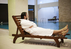 Man at the spa center. Man at the  pool in a spa center Stock Photo