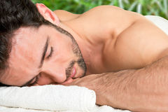 Man in a Spa Stock Image