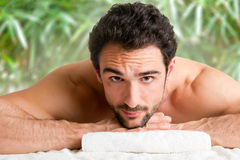 Man in a Spa Stock Images