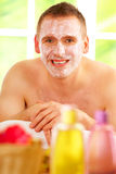 Man in spa with mask stock photo