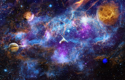 Man in Space. Background image with a ship in outer space. Elements of this images are provided by NASA Stock Image