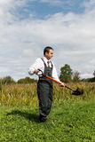 Man and spade. Stock Images