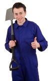 Man with a spade Stock Images