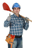 Man with spade Stock Photos