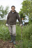 Man With Spade In Garden Royalty Free Stock Photography