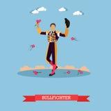 Man in spanish torero dress. Matador on arena for bullfighting. Vector concept poster Stock Photo
