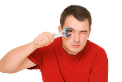 Man with spanner royalty free stock image