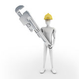 Man and spanner Royalty Free Stock Photography