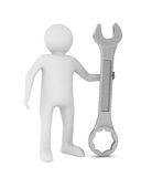 Man and spanner on white background Royalty Free Stock Images