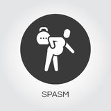 Man with spasm in pain. flat simplicity icon. Flat simplicity icon of person with spasm in pain. Delivery care concept. Black round logo for websites, mobile Royalty Free Stock Photos