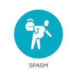 Man with spasm in pain. flat simplicity icon. Flat simplicity icon of person with spasm in pain. Delivery care concept. Blue round logo for websites, mobile apps Royalty Free Stock Photography