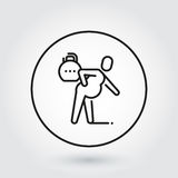 Man with spasm in pain. Line simplicity icon. Line simplicity icon of person with spasm in pain. Delivery care concept. Black linear logo for websites, mobile Royalty Free Stock Images