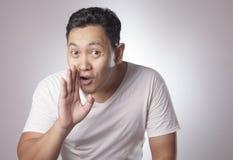 Man Speak Whispering, Secretly Conversation royalty free stock photo