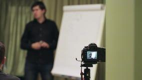 Man speaking on lecture - camera shoot. Man speaking on lecture in class - camera shoot stock footage