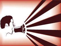 Man speaking in megaphone Stock Images