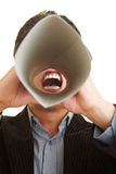 Man with speaking tube Royalty Free Stock Photography