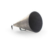 Man speaking through a vintage megaphone Stock Photos