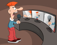 Man speaks into the microphone. Stock Photos
