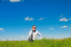 Man speaks by mobile phone Royalty Free Stock Images