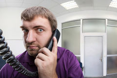 Man speaks on the phone Stock Photo