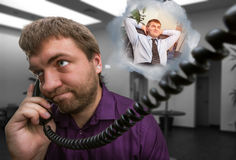 Man speaks on the phone Stock Image