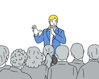Man speaks to the audience hand drawn illustration royalty free illustration