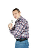 Man speaks to microphone Stock Images