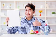 The man on special diet programm to lose weight. Man on special diet programm to lose weight Stock Images