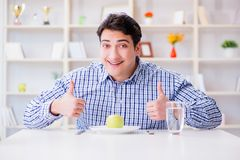 The man on special diet programm to lose weight. Man on special diet programm to lose weight Stock Image