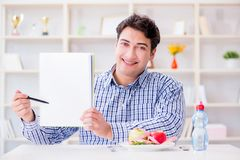 The man on special diet programm to lose weight. Man on special diet programm to lose weight Royalty Free Stock Photography