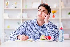 The man on special diet programm to lose weight. Man on special diet programm to lose weight Stock Photos