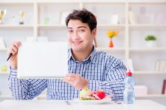 The man on special diet programm to lose weight. Man on special diet programm to lose weight Royalty Free Stock Photo