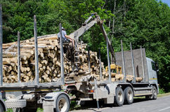 Man with special equipment load truck with logs Royalty Free Stock Photo