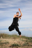 Man from special forces. Young man from special forces exercising outdoor motion blur Stock Photos