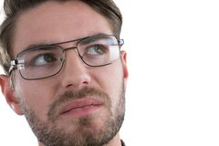Man in spectacles looking away Royalty Free Stock Photography