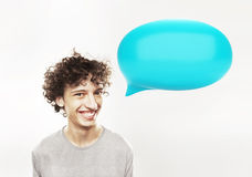 Man with speech bubble Stock Photo