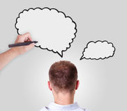 Man with speech bubble overhead Royalty Free Stock Photo