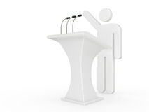 Man speech with tribune Royalty Free Stock Photography