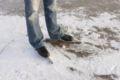 Man with speed ice skates on ice royalty free stock photo