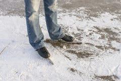 Man with speed ice skates on ice royalty free stock photos