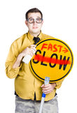 Man speeding up process Royalty Free Stock Photo