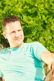 Man spending free time outside, looking at nature Stock Photos