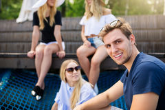 Man spending time with friends Stock Photography