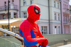 Man in spiderman outfit in main square of Sopot Royalty Free Stock Images