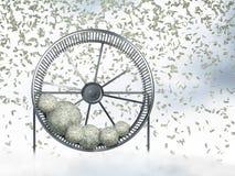 Man in spinning wheel Stock Image