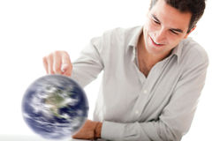 Man spinning the world Royalty Free Stock Image